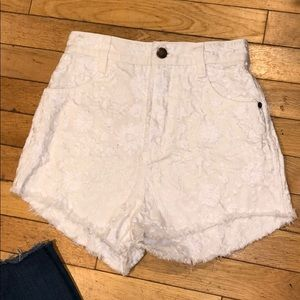 Free people embroidered high waisted shorts jeans
